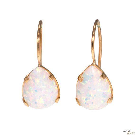 Summer Sale 14K Solid Yellow Gold Teardrop 7X10mm White Opal Drop Earrings