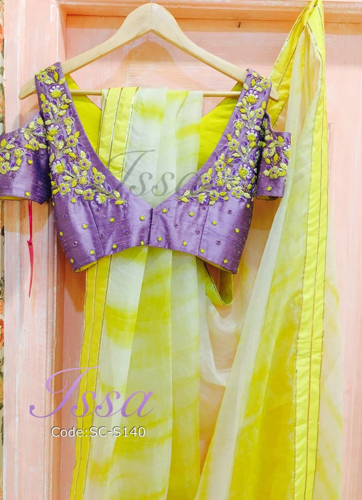 SC140: Lavender cold shoulder blouse with white and yellow shibori saree!!! We can customize the colour size as per your requirement.To order please call/ WhatsApp on 9949944178 or mail us @issadesignerstudio@gmail.com 05 November 2016