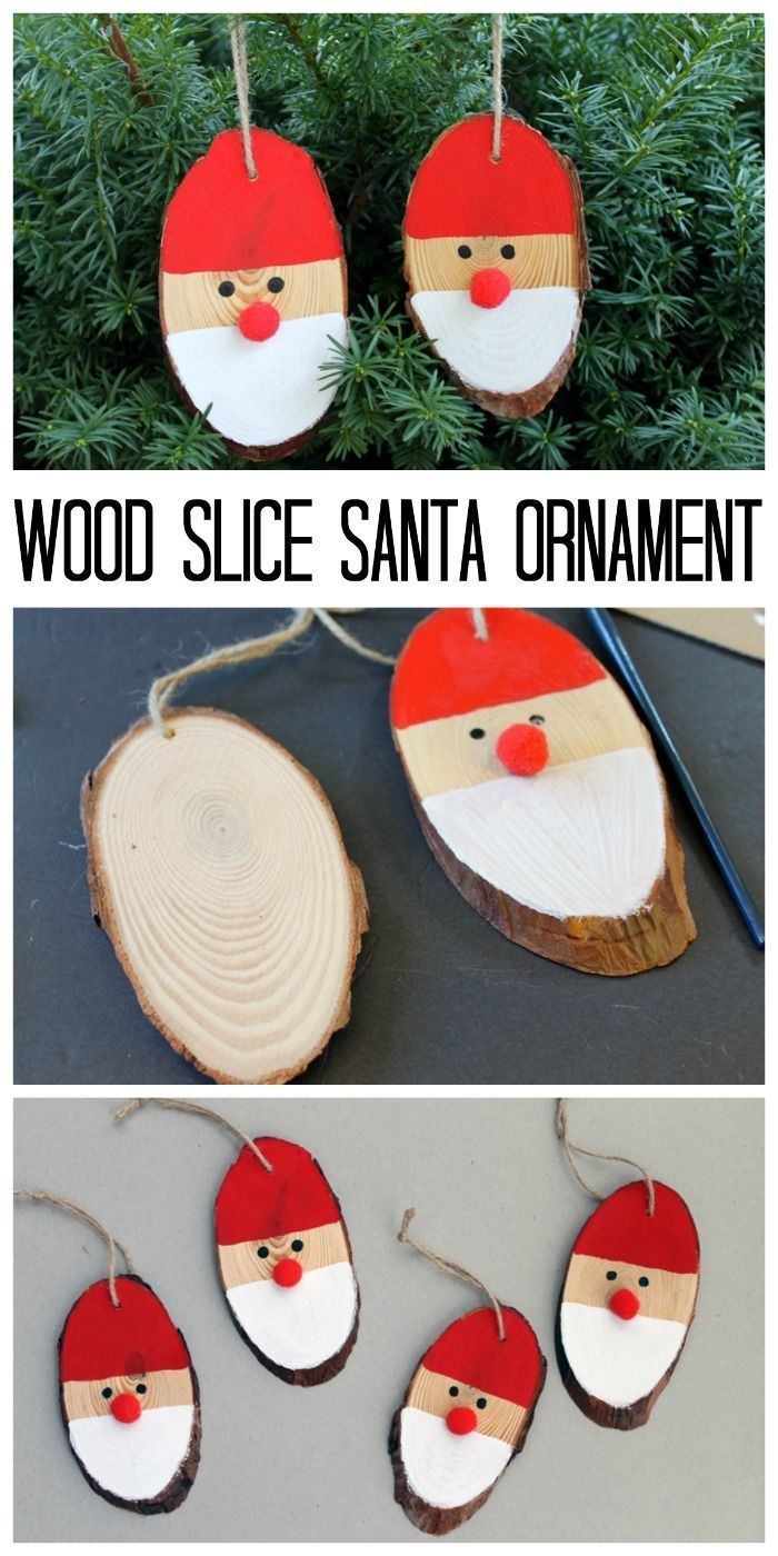 Wood Slice Santa Ornament for your Christmas Tree - a quick and easy holiday craft idea! Perfect for crafting with kids!