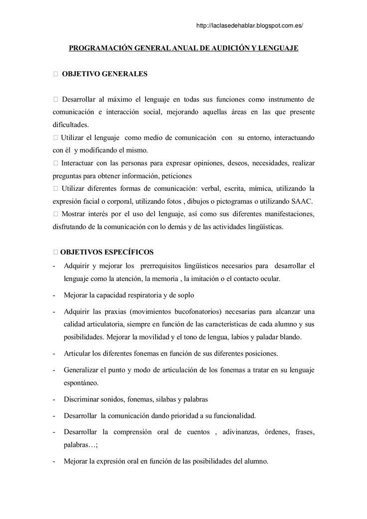 Programacion general aula de logopedia by Lucia Roldán Iglesias via slideshare