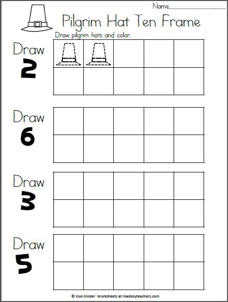 Pilgrim Hats 10 Frames | Kindergarten addition worksheets ...