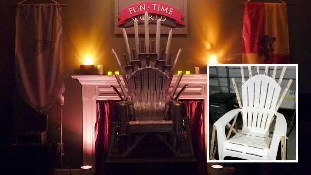 You're not about to create the Iron Throne from the swords of your defeated enemies so why not play it a little safer by making one with a plastic garden chair and a can of spray paint? Seriously, this garden chair throne is almost as good as the one in Game of Thrones.
