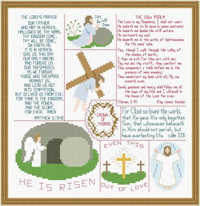 Religious Easter Images and Verses - cross stitch pattern designed by Susan Saltzgiver. Category: Religious.