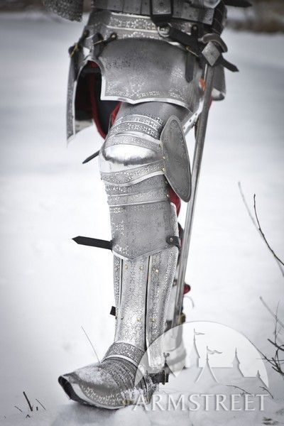 Medieval Sabatons Etched Stainless Paladin Armor