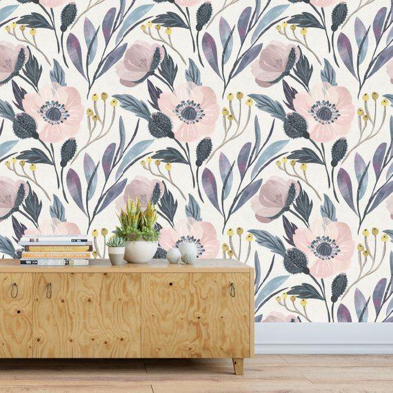 Moody Flower Wallpaper Temporary Wallpaper Removable Wallpaper Wallpaper Peel And Stick Wall Paper Floral Wallpaper Nursery Wallpaper Floral Wallpaper Vintage Style Wallpaper Temporary Wallpaper
