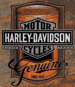 Harley Davidson Oil Can Tin Sign - Ande Rooney Harley Davidson Embossed Tin Sign Collection utilizes lithographed on tin process, this makes for a more detailed and inticate sign. The result is a repr                                                                                                                                                                                 Mais
