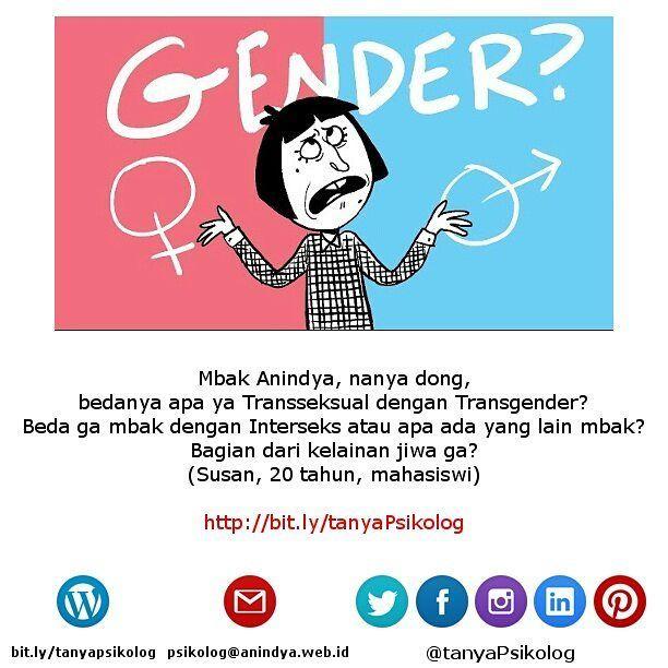 Transgender Transseksual dan Interseks bukan gangguan mental.  #tanyaPsikolog #psikolog #jakarta #konseling #konsultasi #konsultasipsikologi #PsychologistJKT #Psychology #MHSM #psikologi #PsychologistJakarta #mentalhealth #thecouch #education #tanyapsikologi #transgender #transexual #intersex  Lihat yuk artikel lengkapnya di Blog Anindya Psychological Practice http://bit.ly/29NKdU4 http://bit.ly/tanyaPsikolog