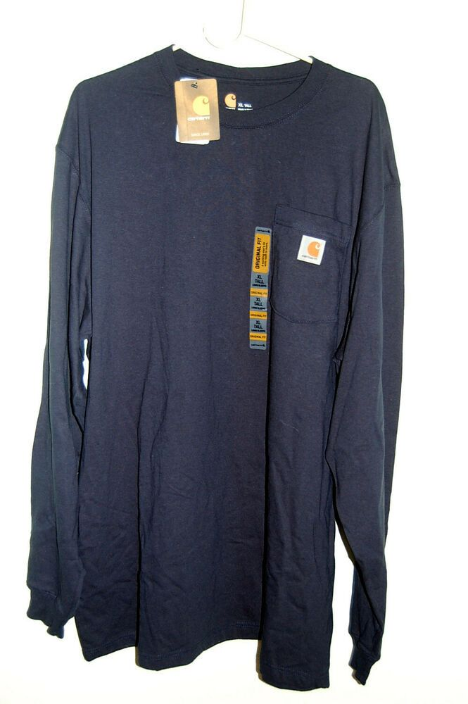 Nwt Carhartt Long Sleeve T Shirt Navy Blue 100 Cotton Work Casual Mens Xl Tall Fashion Clothing Shoes Accessorie Long Sleeve Tshirt Men Work Casual Shirts