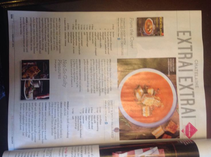 Chatelaine Magazine - Tomato and Red Pepper Soup with Grilled Cheese Croutons