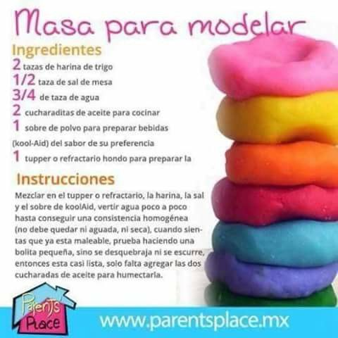 Como hacer masa para modelar. Manualidades caseras para niños.