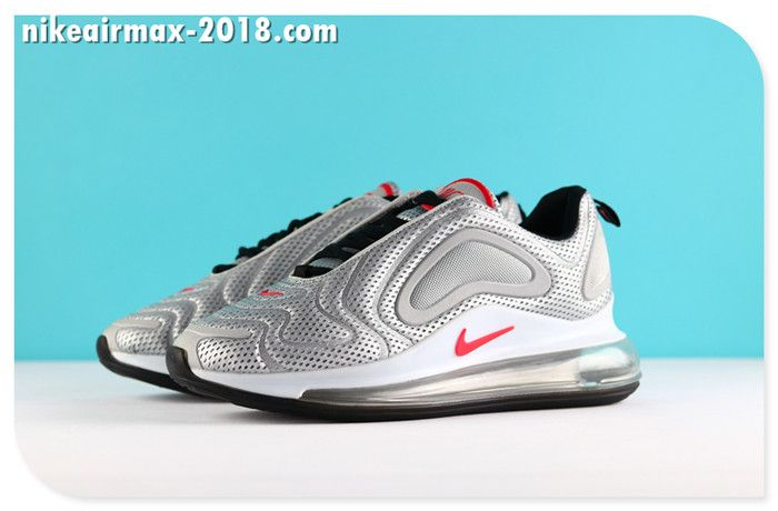 the best attitude 4a7e4 d034d Nike Air Max 720 Mesh Latest Women Jogging Shoes Silver Red White