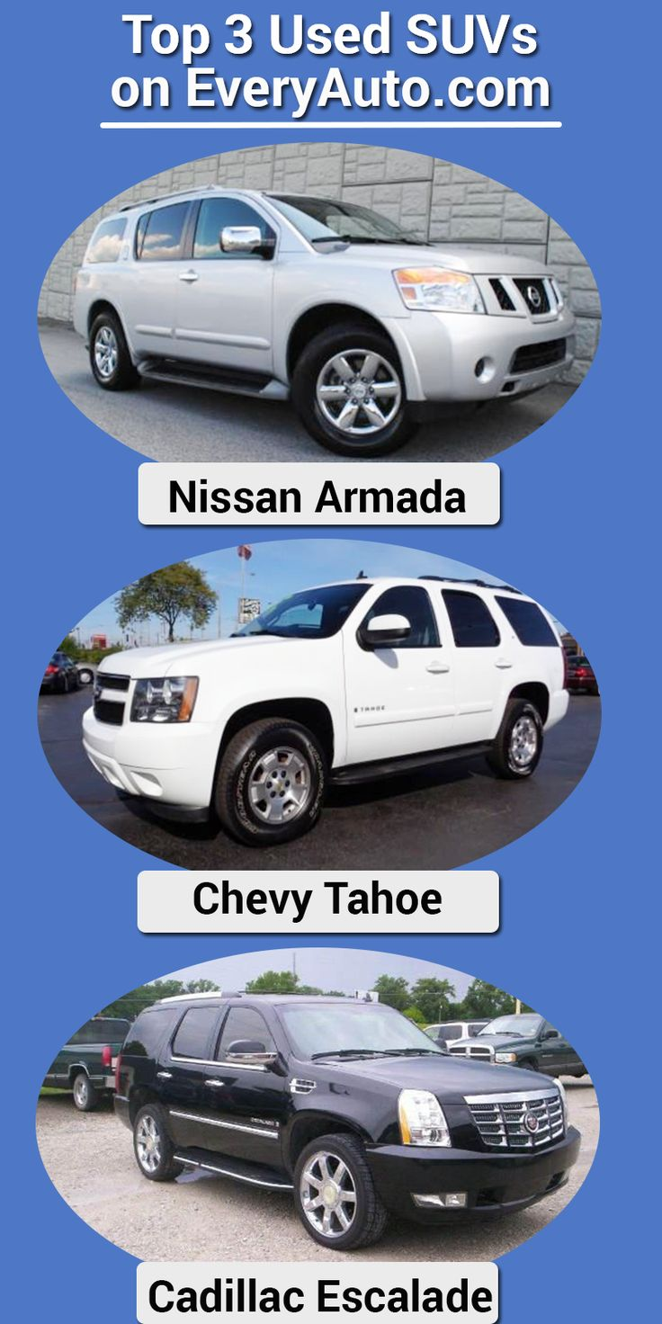 3 of the most popular SUVs being searched on EveryAuto! Click the image to browse over 1.8 million cars, trucks and SUVs from trusted dealerships all over the United States! Prices to fit all budgets!