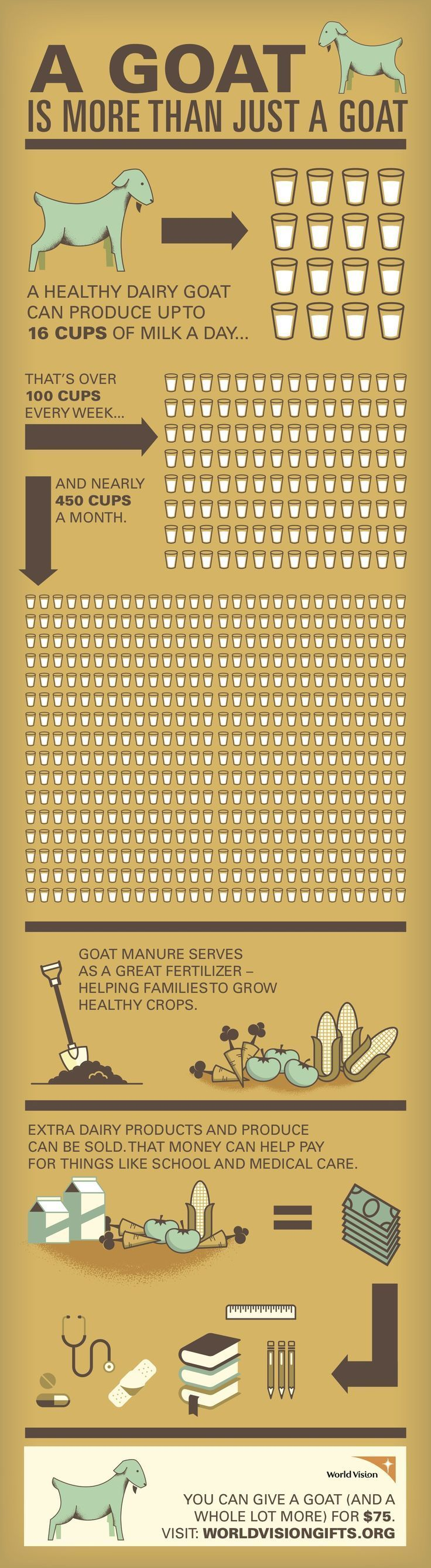 $75 – Goat: Check out our infographic to get a better idea of how a simple gift through our Gift Catalog can become a sustainable means by which a child, family, and even entire community can escape poverty! #WorldVision #GiftCatalog http://blog.worldvision.org/gift-catalog/a-goat-is-more-than-just-a-goat?&campaign=1259075