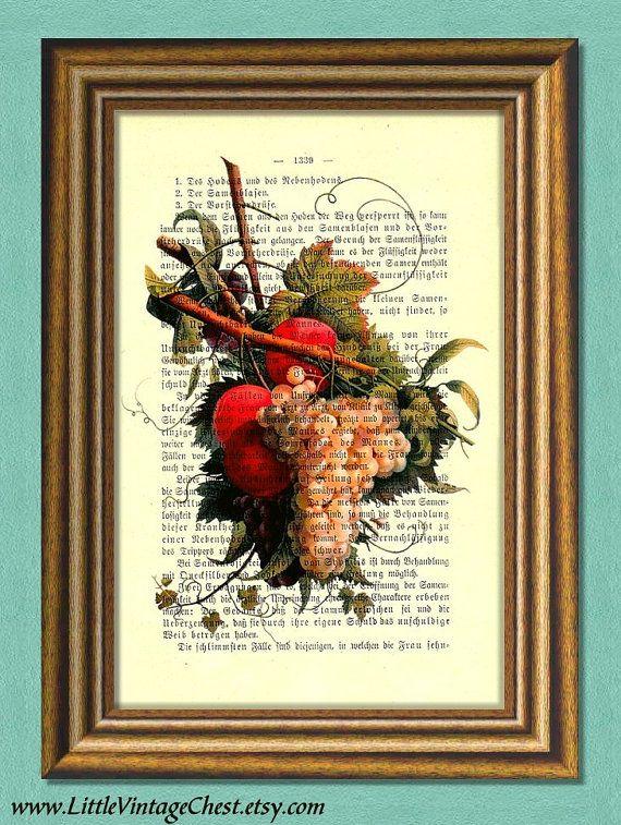 FRESH FRUITS Kitchen art Dictionary art by littlevintagechest