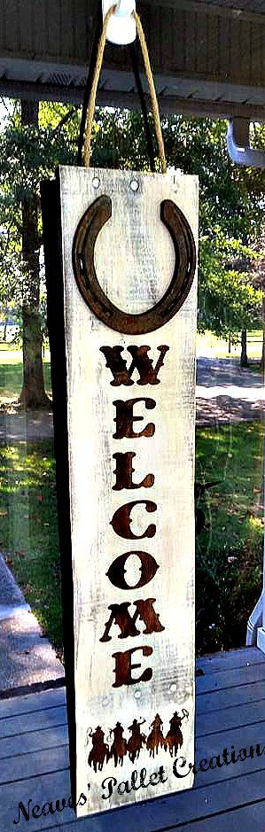 "RECYCLED WOOD PALLETS: Here is our newest Door Hanger. What a GREAT way to say ""WELCOME"" to our rustic country-chic home. It is 26"" x 6"" and has a rusted, metal Horseshoe on the top. Is sells for $24. Message us with your order. Makes a great gift for that hard to shop for ""country-all-the-way"" person. Item# 678"