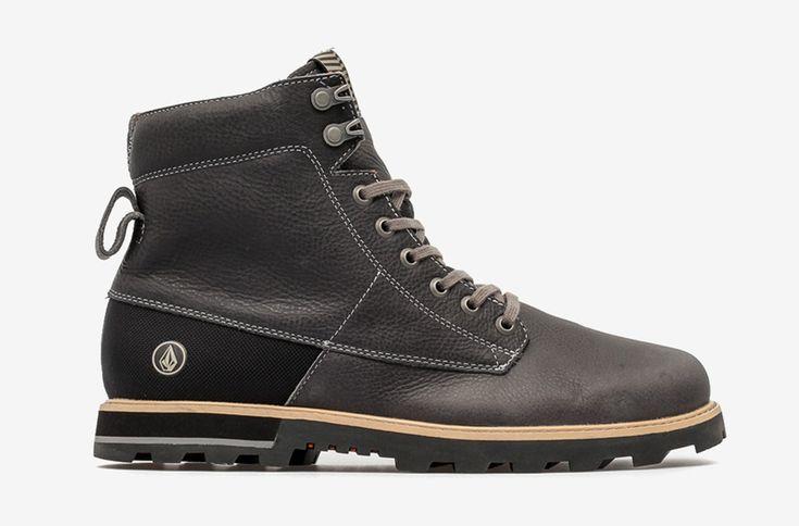 Volcom Smithington — vysoké pánské zimní boty, kožené, černé, winter boots #winter #boots #mens #brown #leather