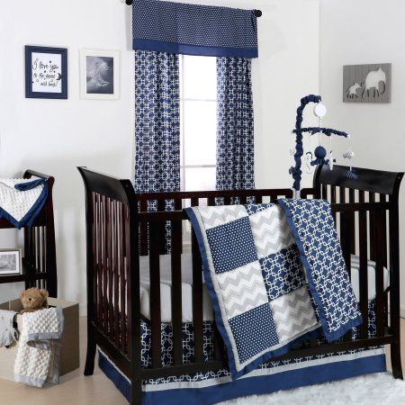 Free Shipping. Buy The Peanut Shell 3 Piece Baby Crib Bedding Set - Navy Blue and Grey Geometric Patchwork - 100% Cotton Quilt, Crib Skirt and Sheet at Walmart.com