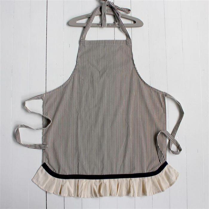 Grey Stripe With Frill Apron
