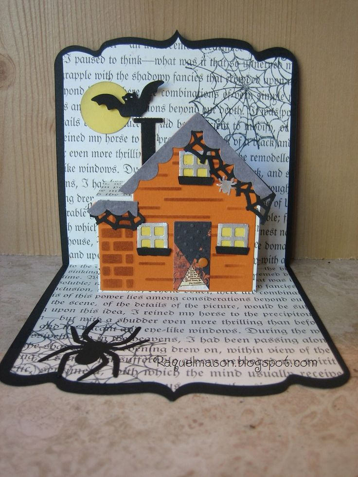 Raquel Mason using the Square Pop 'n Cuts Base, the House insert and matching House Thinlits. Love this spooky house card! - Raquel's Stampin' Blog: Halloween House Pop N Cut