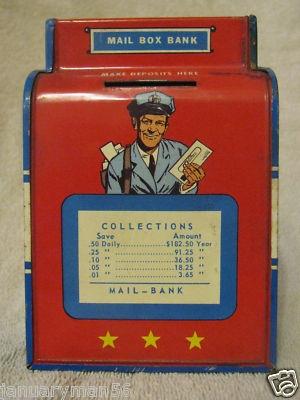 Vintage 1950's Ohio art toy mailbox bank by januaryman56 on ebay.com