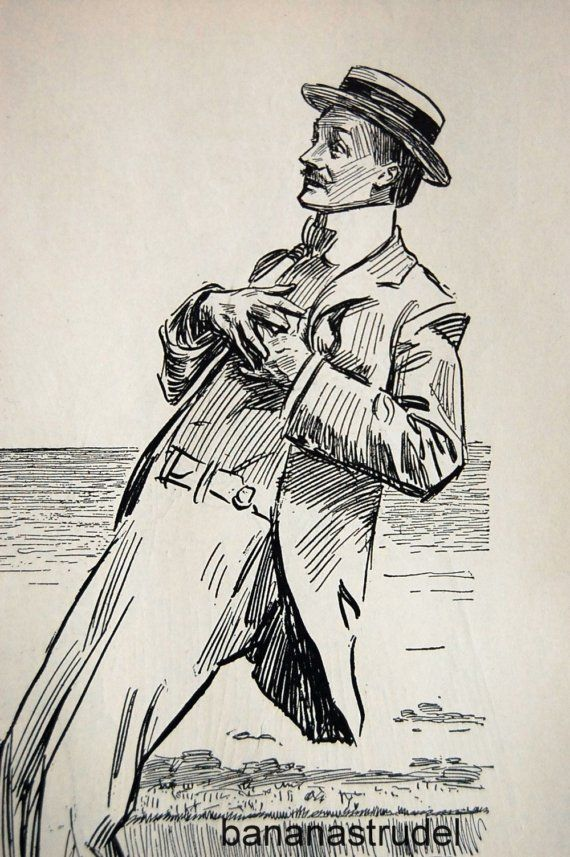 1905 Antique Charles Dana Gibson Print. The Winsome Threesome and the Handsome.