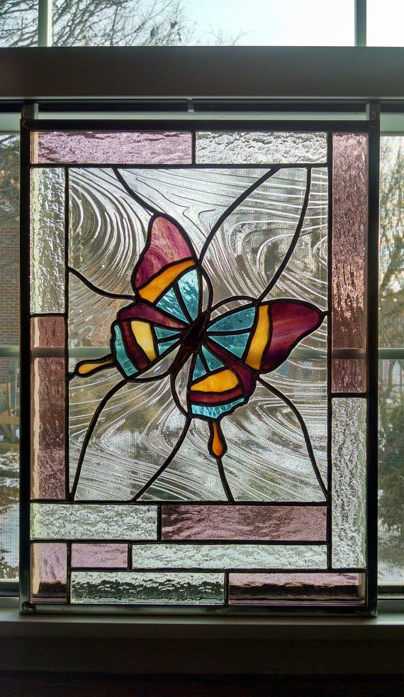 Butterfly Stained Glass Window Panel Glass by StainedGlassYourWay