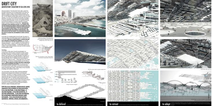 """HONORABLE MENTION REG. NO. 0142 """"Drift City: Architecture's Reaction to Sea Level Rise"""" by mcdowellespinosa: Seth McDowell (Architect, Assistant Professor, University of Virginia), Rychiee Espinosa (Architect), Brad Brogdon (Architect)"""