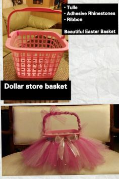 DIY Easter Basket using a dollar store basket and some tulle. (Could also use as flower girl basket).