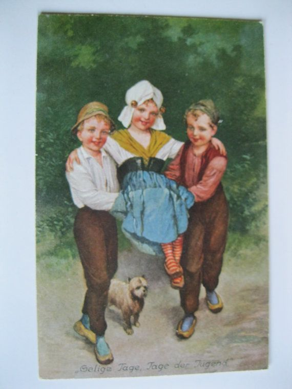 Children and Dog. 1910 era. Antique Postcard. SALE  by grandma62