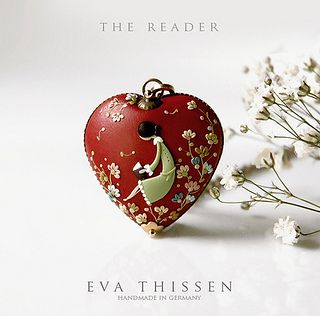 The Reader. Beautiful hand made polymer clay necklace. by Eva Thissen Gallery, via Flickr