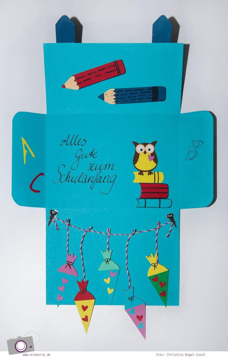 DIY: Karte Zur Einschulung / Zum Schulanfang Basteln   Ein Schulranzen Mit  Schultüten, Buntstiften