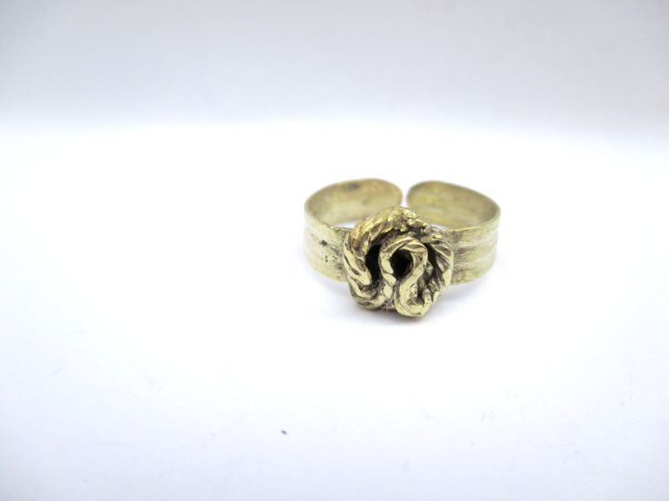 Brass Abstract Rose Ring by Picossa on Etsy