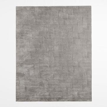 Solid Angled Basketweave Wool Rug - Platinum #westelm