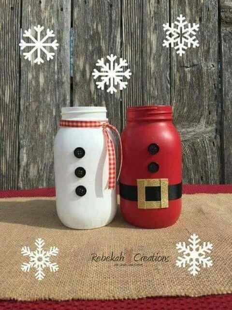 Santa Claus and snowman mason jars for Christmas