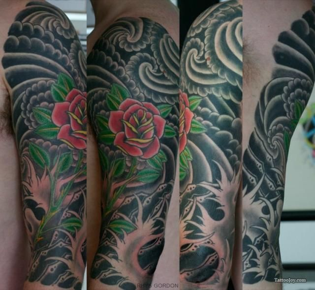 Japanese wave tattoo designs red nautical stars and for Japanese wave and flower tattoo
