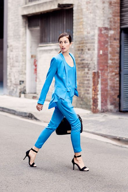 SPOTTED: Carmen fromThe Chronicles of Her Bloglooking chic in GINGER & SMART.  She is wearing the Metaphysical pant, tank and jacket in Azure Blue.  Available in store and online now at www.gingerandsmart.com
