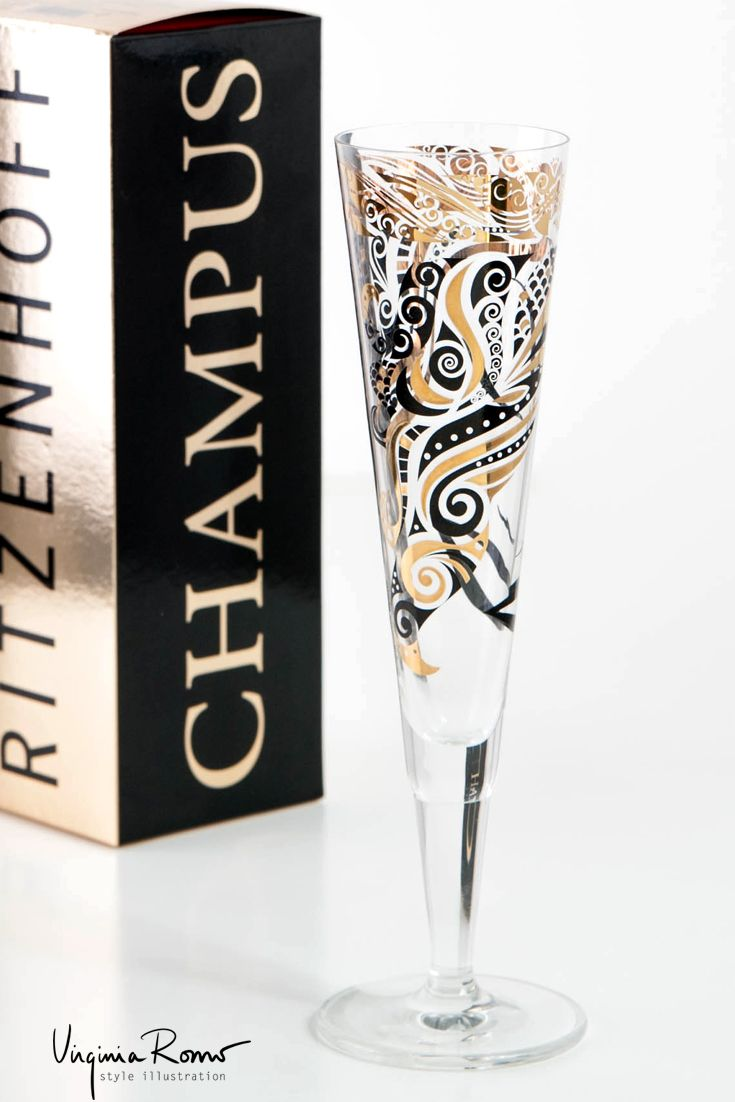 Golden and black Maori pattern - Champagne glass by Virginia Romo for Ritzenhoff.