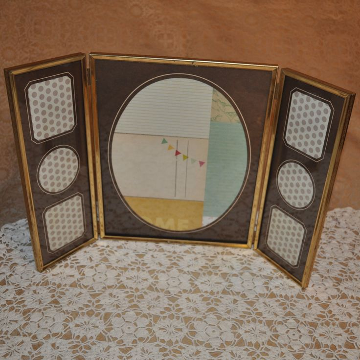 Large Vintage Gold Metal Picture Frame, 11 x 9  & 6 Small Matted Frames by LindsaysFinds on Etsy