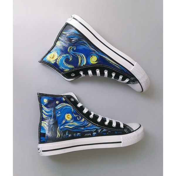 Hand painted sneakers Starry Night van Gogh theme, handmade chucks,... ($96) ❤ liked on Polyvore featuring shoes, sneakers, converse shoes, converse trainers, star shoes, converse footwear and converse sneakers