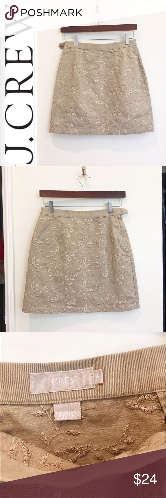 """J. Crew embroidered floral pencil skirt Preppy and cute embroidered khaki skirt from J. Crew. No condition issues. Side zip. Cotton. Darts. Length is about 17"""". Waist is about 13.5"""" flat. J. Crew Skirts Pencil"""