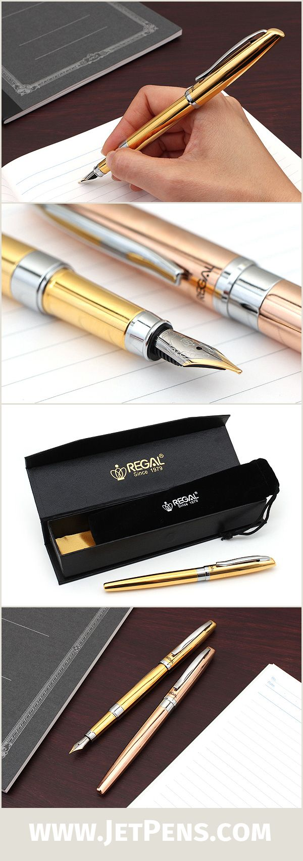 The Regal Hemingway Fountain Pen is a writing instrument with bold, memorable style due to its metallic finish and gold-plated nib.