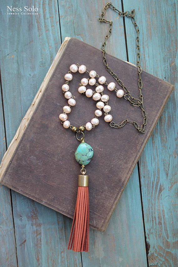 Long Bohemian necklace with pale nude pink freshwater pearl beads, a genuine turquoise stone and a genuine leather (nubuck) tassel. The necklace measures 36 inches (92 cm) with a 5 1/2 inches (14-15 cm) long stone and tassel drop. See pic.5 to choose your stone. ♥ - ♥ - ♥ - ♥ - ♥ - ♥ - ♥ - ♥ - ♥ - ♥ - ♥ - ♥ - ♥ - ♥ - ♥ - ♥ - ♥ - ♥ - ♥ - ♥ - ♥ - ♥ - ♥ - ♥ PAYMENT: All major CREDIT CARDS are accepted through PayPal. You do NOT have to have a PayPal account to make a purchase. SHIPPIN...