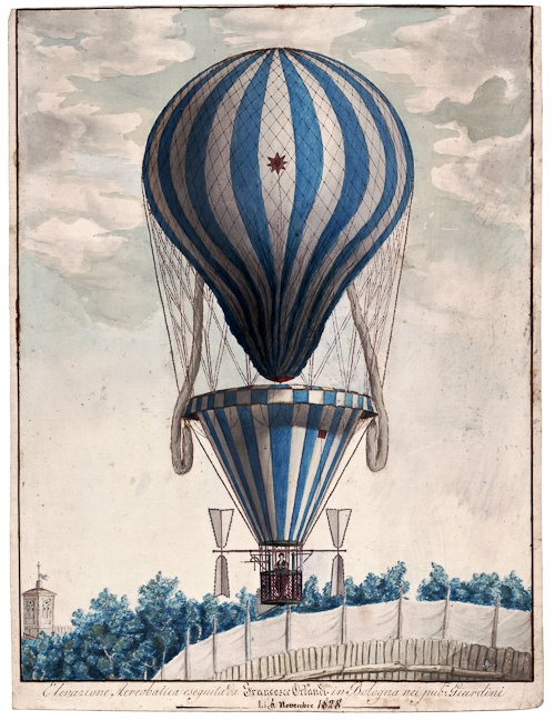 This print from a watercolor and ink illustration shows aerobatics performed by Francesco Orlandi in Bologna, Italy. Orlandi flew throughout Italy. There is a parachute below the bag and propellers on either side of the basket. Circa 1828.: