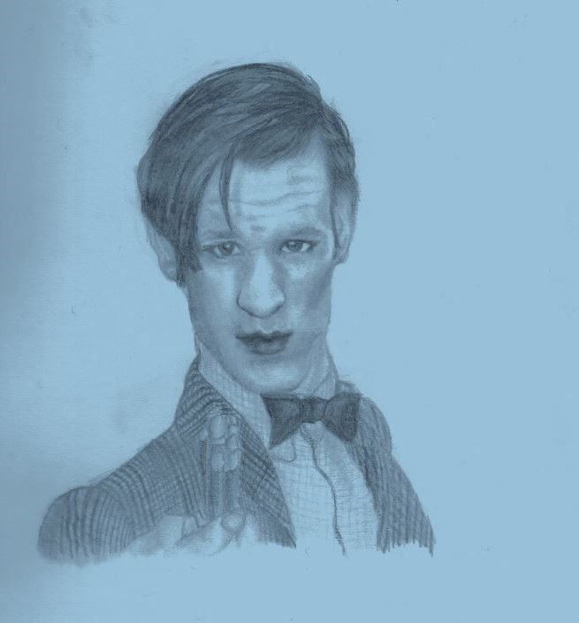 Matt Smith as the 11th Doctor drawn on a blue background :)