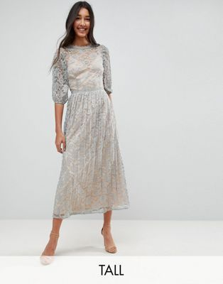 Little Mistress Tall All Over Lace Maxi Dress With Balloon Sleeve Detail
