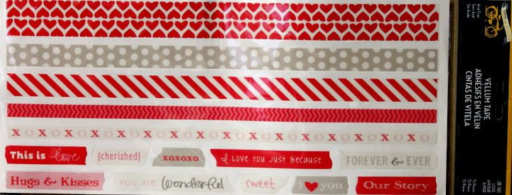 Little Yellow Bicycle Romance And Valentine's Day Vellum Tape Borders & Sentiments Stickers