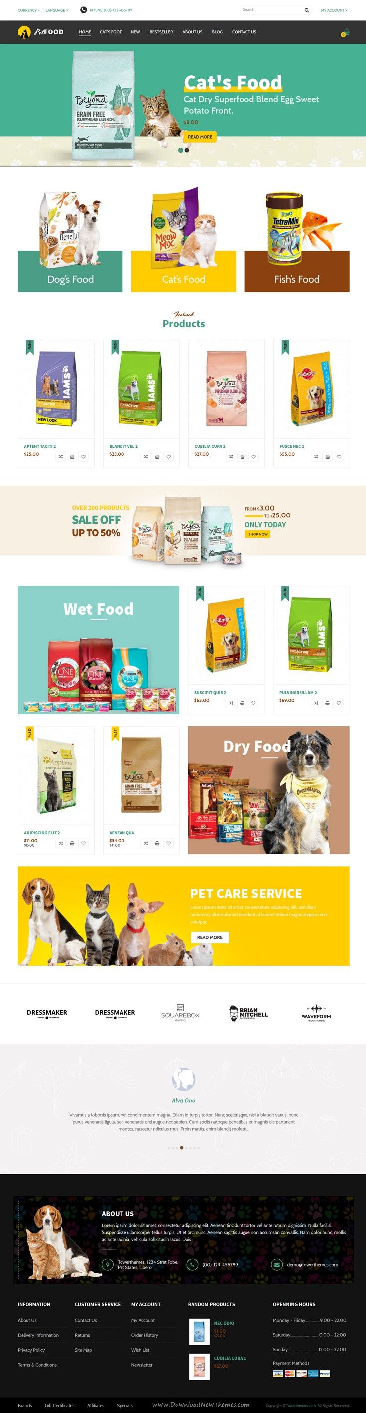 Fobe is beautiful 4 in 1 Responsive Opencart Theme for Multipurpose eCommerce #website. #pet #petfood #dog #cat Download Now!
