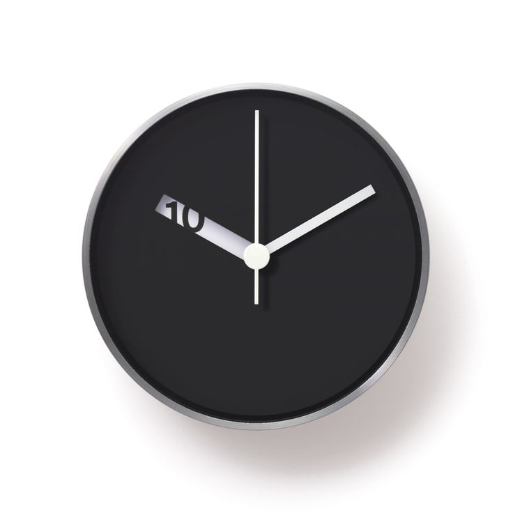 Minimalist wall clock. Numbers pass in and out of view on the hour hand.