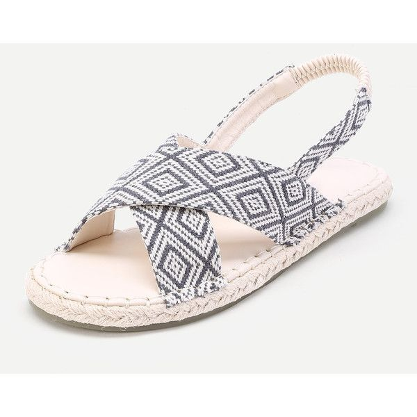 SheIn(sheinside) Geometric Print Woven Flat Sandals (53 BAM) ❤ liked on Polyvore featuring shoes, sandals, navy blue sandals, flat espadrilles, navy sandals, navy blue flat shoes and navy blue flat sandals