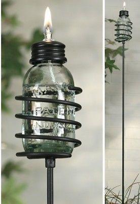 VIntage Mason Jar Miniature Oil Lamp Garden Patio Stake